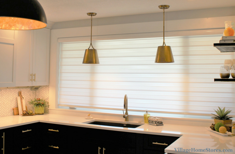 Large and unique window shade above kitchen window. | VillageHomeStores.com