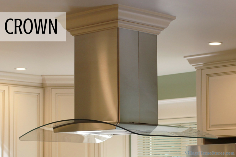 Crown molding on hood by Village Home Stores