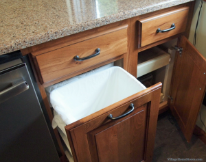 pull-out trash in kitchen peninsula. | VillageHomeStores.com