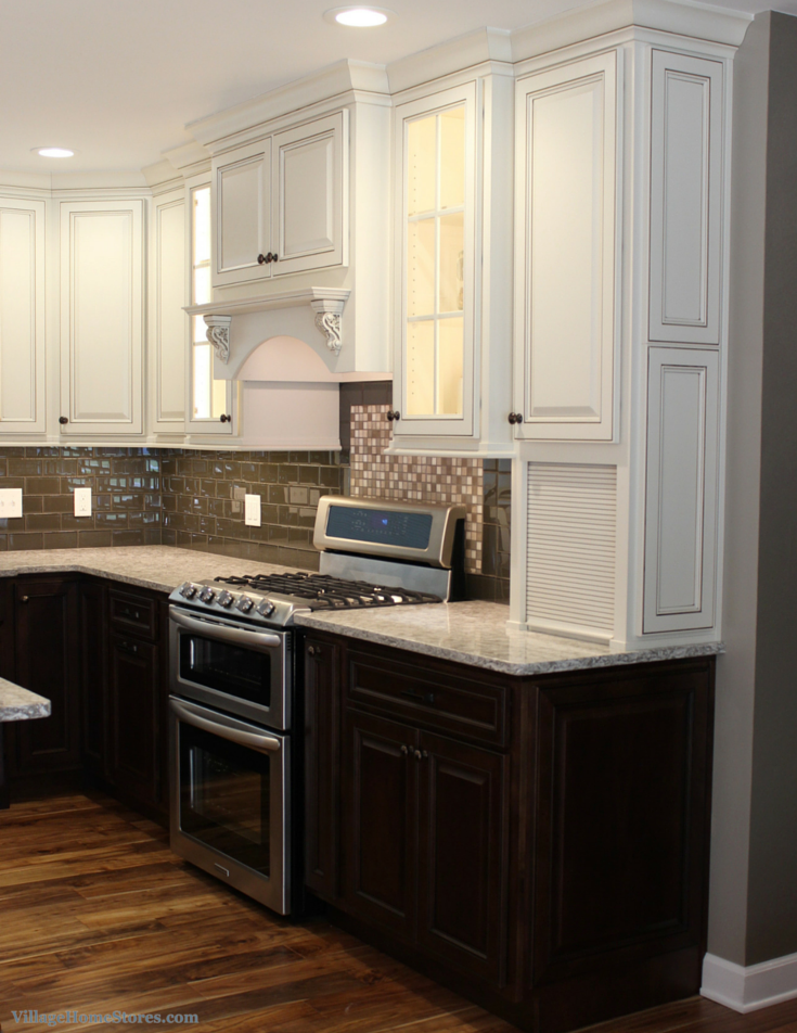 Kitchen dark base cabinets white upper cabinets for Upper kitchen cabinets