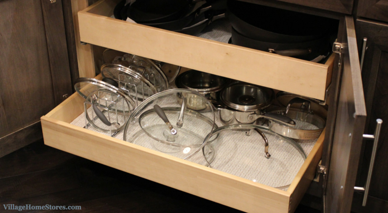 Pots and pans drawers in a kitchen remodeled completely by Village Home Stores. | VillageHomeStores.com