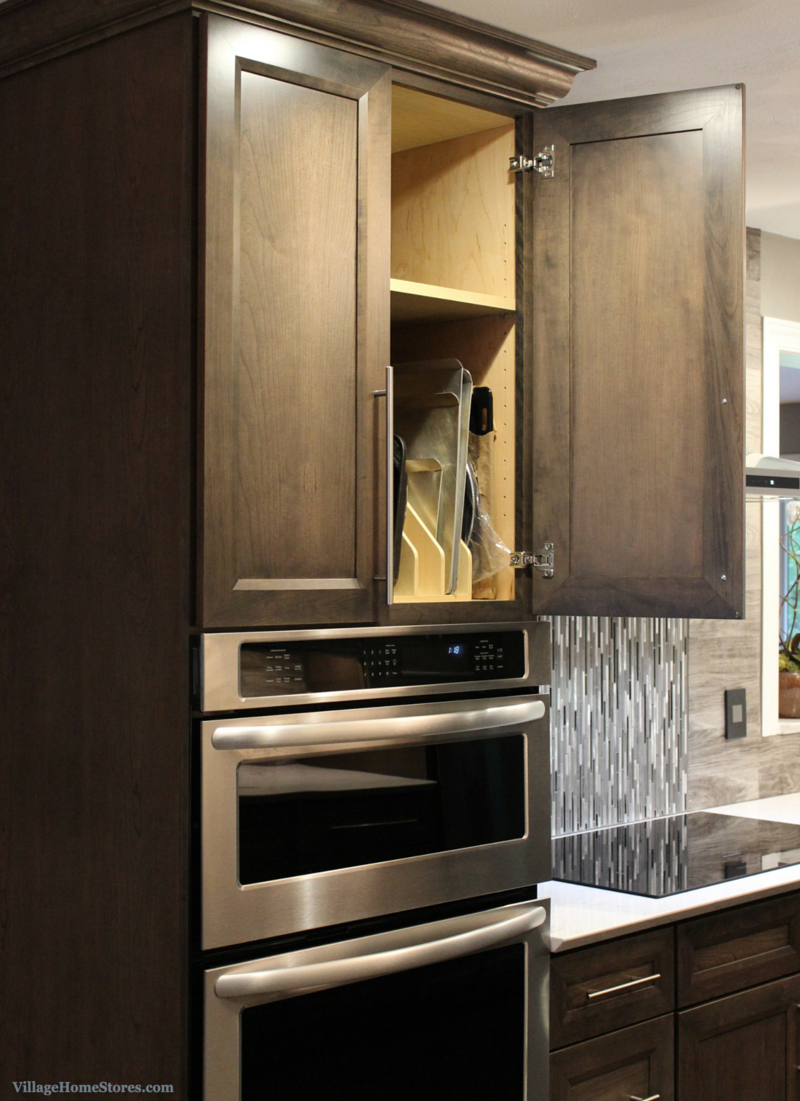 A tray divider installed above a combination wall oven and microwave. | VillageHomeStores.com