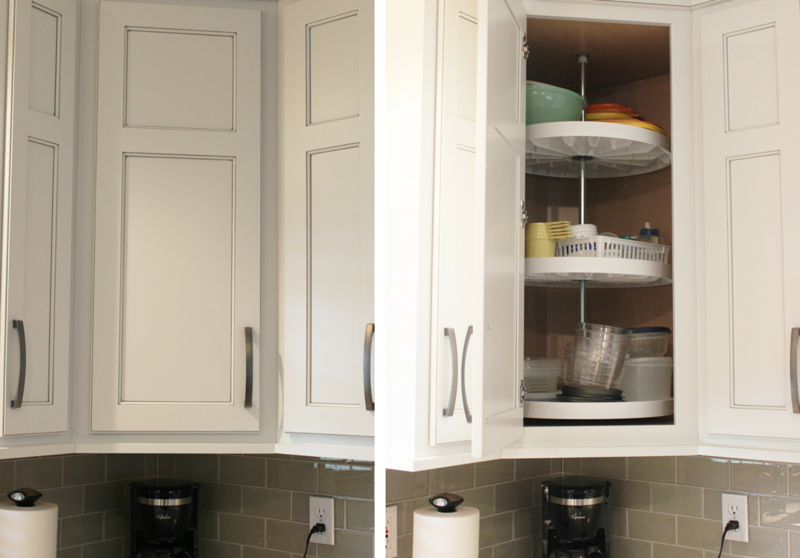 Corner lazy susan wall cabinet in kitchen. | VillageHomeStores.com