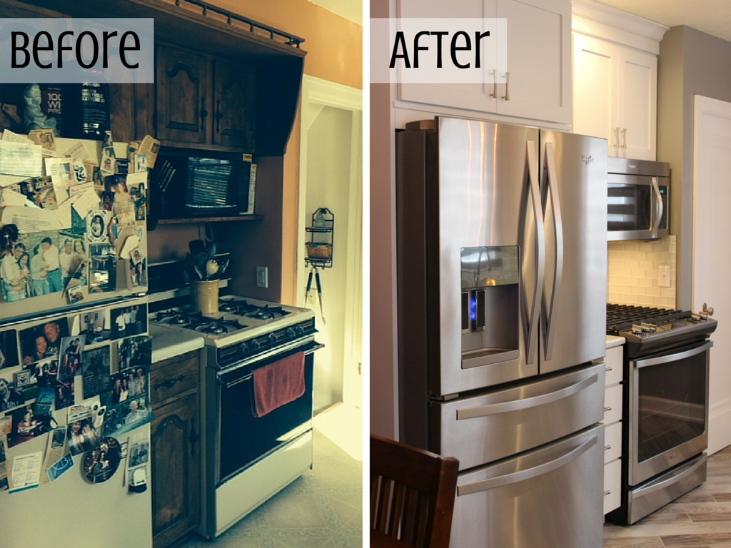 Before and after of a remodeled East Moline, IL kitchen. | VillageHomeStores.com