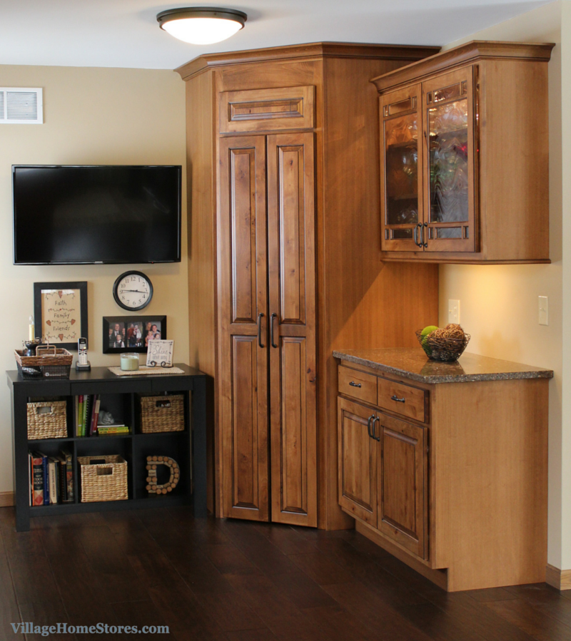 Tall corner kitchen pantry cabinet with doors for Tall kitchen cabinets