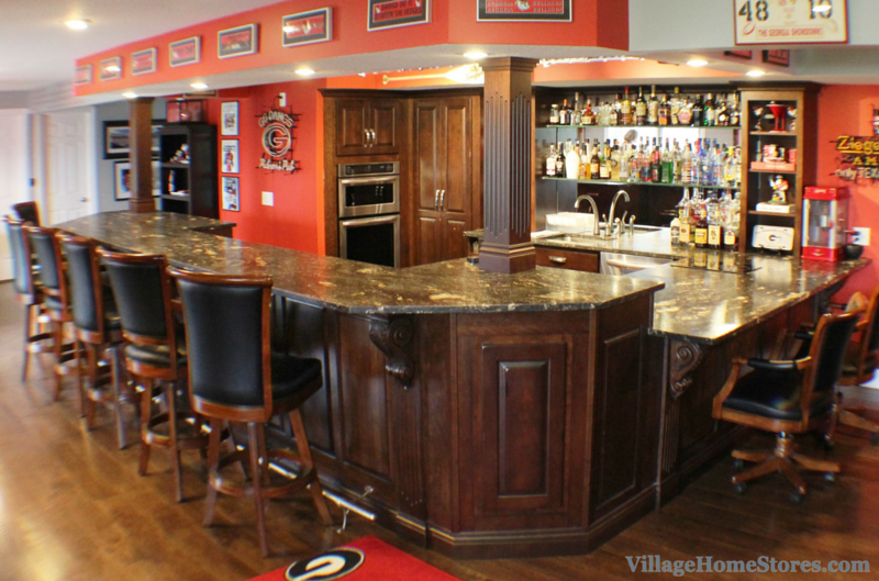 Home bar featuring Georgia Bulldogs memorabilia. | VillageHomeStores.com