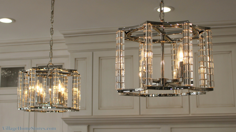 "Crystorama ""Carson"" 4 light chandeliers above a kitchen island in a Moline, IL home. 