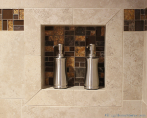 Tile shelf in shower recessed. | VillageHomeStores.com