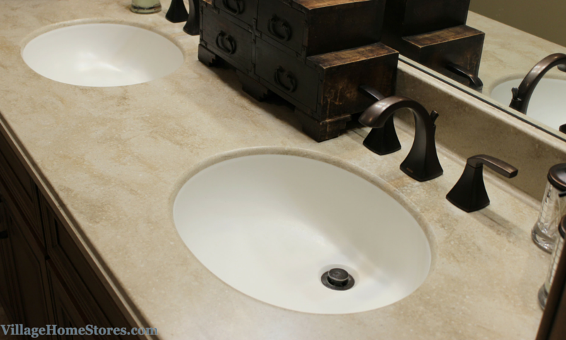 Corian Tumbleweed bathroom vanity top with integrated bowl. | VillageHomeStores.com