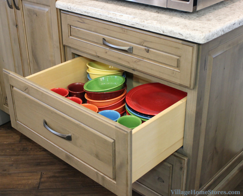 Drawers for dishes and mugs. | VillageHomeStores.com