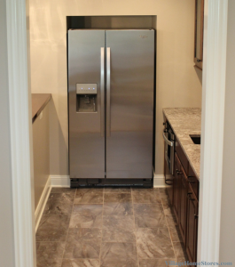 recessed refrigerator in bar