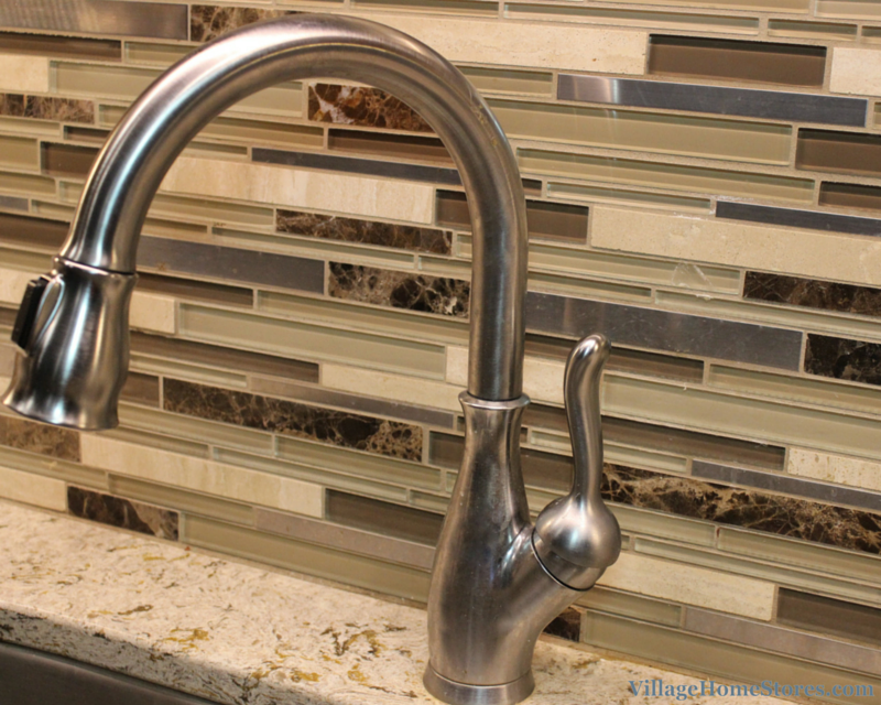 mosaic tile and stainless faucet. | VillageHomeStores.com