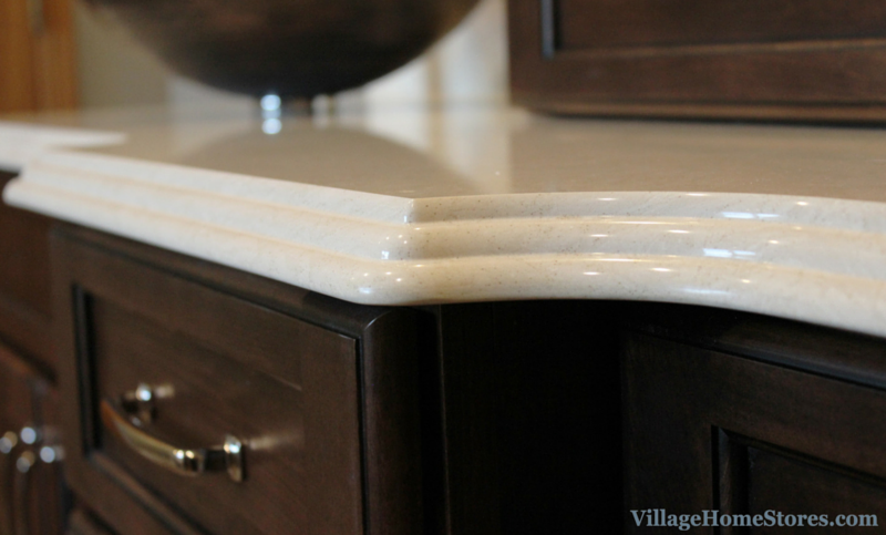 Cambria quartz in Fairbourne design and waterfall edge. | VillageHomeStores.com