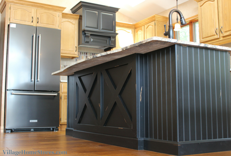 Black distressed kitchen island. | VillageHomeStores.com