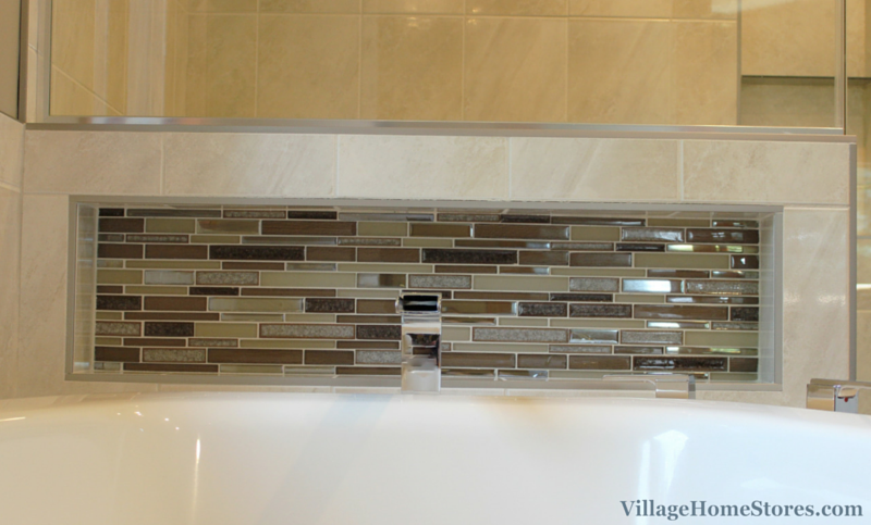 Tiled wall shelf in bathroom. | VillageHomeStores.com