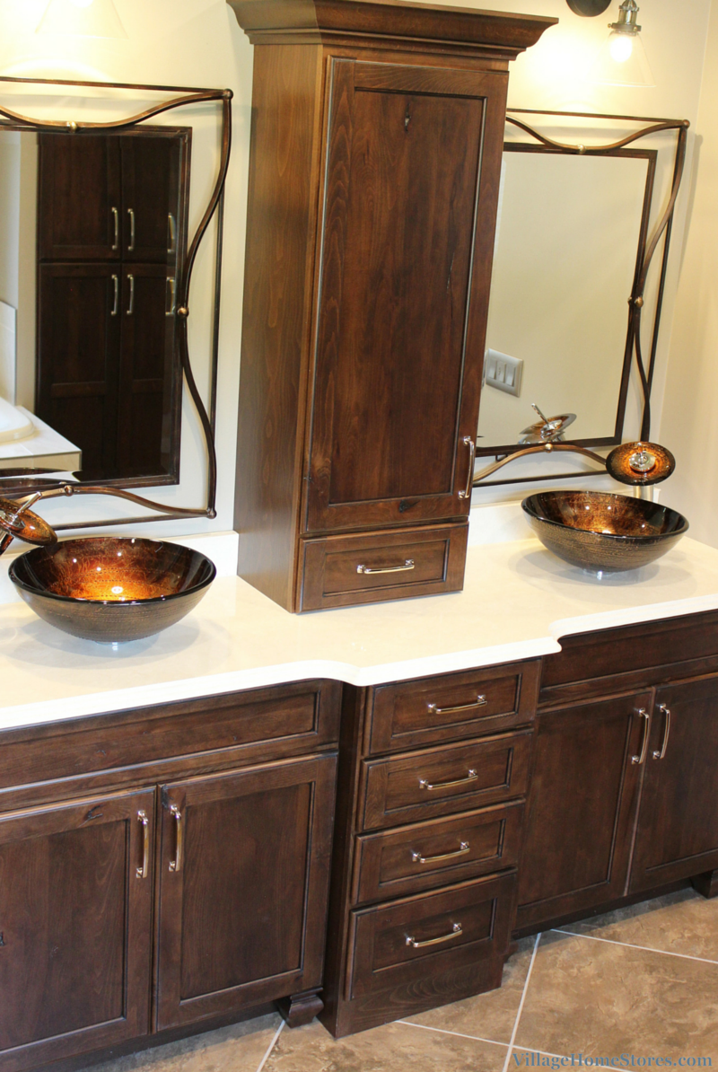 vanity with two unique vessel sinks. | VillageHomeStores.com
