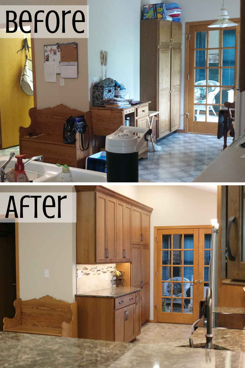 Kitchen before and after photo. | VillageHomeStores.com
