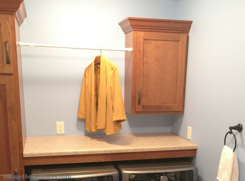 Hanging rod in laundry room. | VillageHomeStores.com