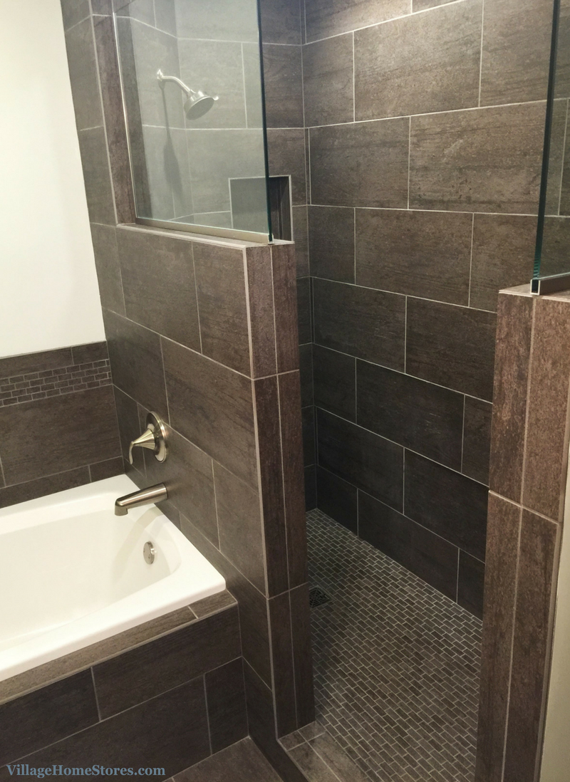 Custom tiled walk in shower. | VillageHomeStores.com