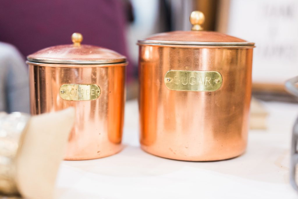 Copper Canisters from mabel. in Geneseo, IL. | photo by Sarah Sunstrom Photography
