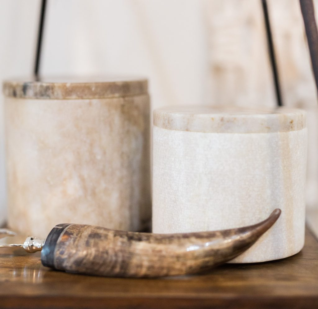 Natural materials like stone and horn. | photo by Sarah Sunstrom Photography