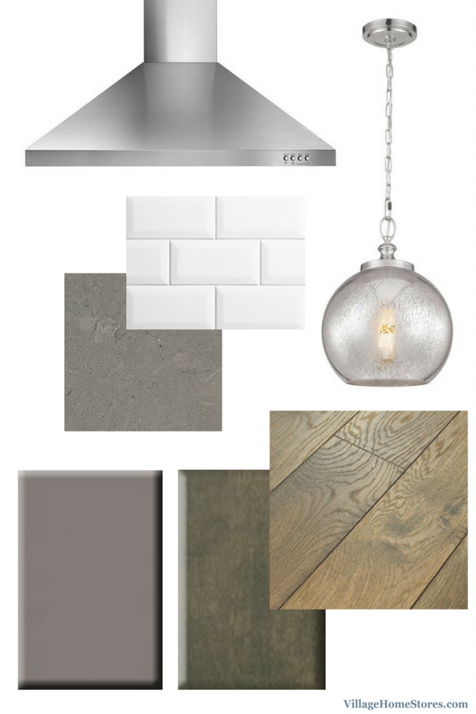 Mixed grays and woodtones in kitchen design. | VillageHomeStores.com