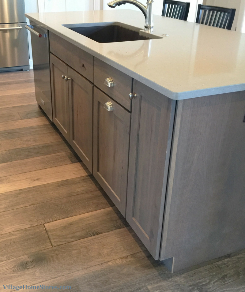 Mixed grays and woodtones in kitchen design including White Oak flooring named Barnwood. | VillageHomeStores.com