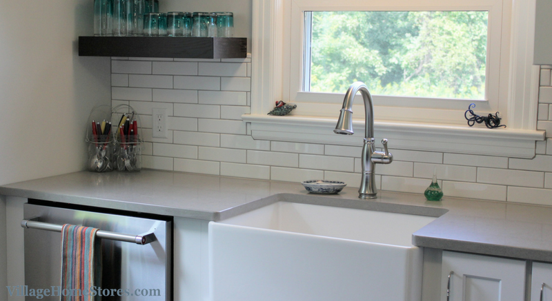 Long Subway Tile backsplash in kitchen. | VillageHomeStores.com