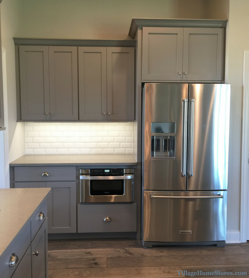 KitchenAid refrigerator and Sharp microwave drawer in a Bettendorf, IA home. | VillageHomeStores.com