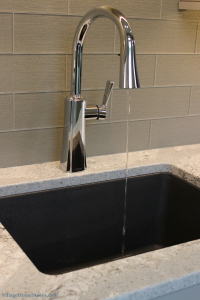 Elkay dusk gray undermount sink on Cambria Summerhill quartz. | VillageHomeStores.com