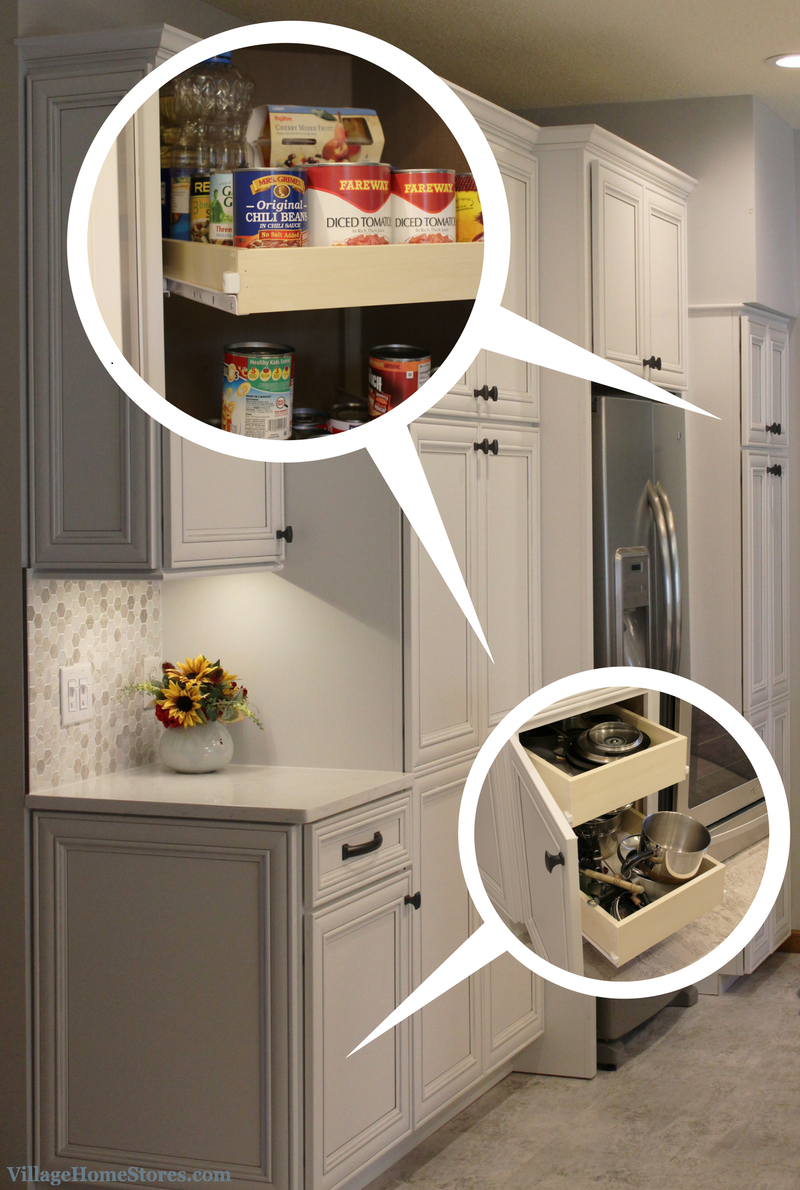 sliding shelves in pantry. | VillageHomeStores.com