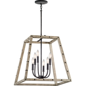 "Distressed Antique Gray weathered wood and Zinc Kichler ""Basford"" pendant light. 