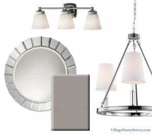 Bathroom moodboard for gray painted cabinets and chrome fixtures. | VillageHomeStores.com