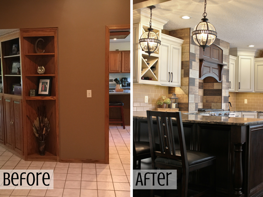 Before and After images of a remodeled kitchen. | VillageHomeStores.com