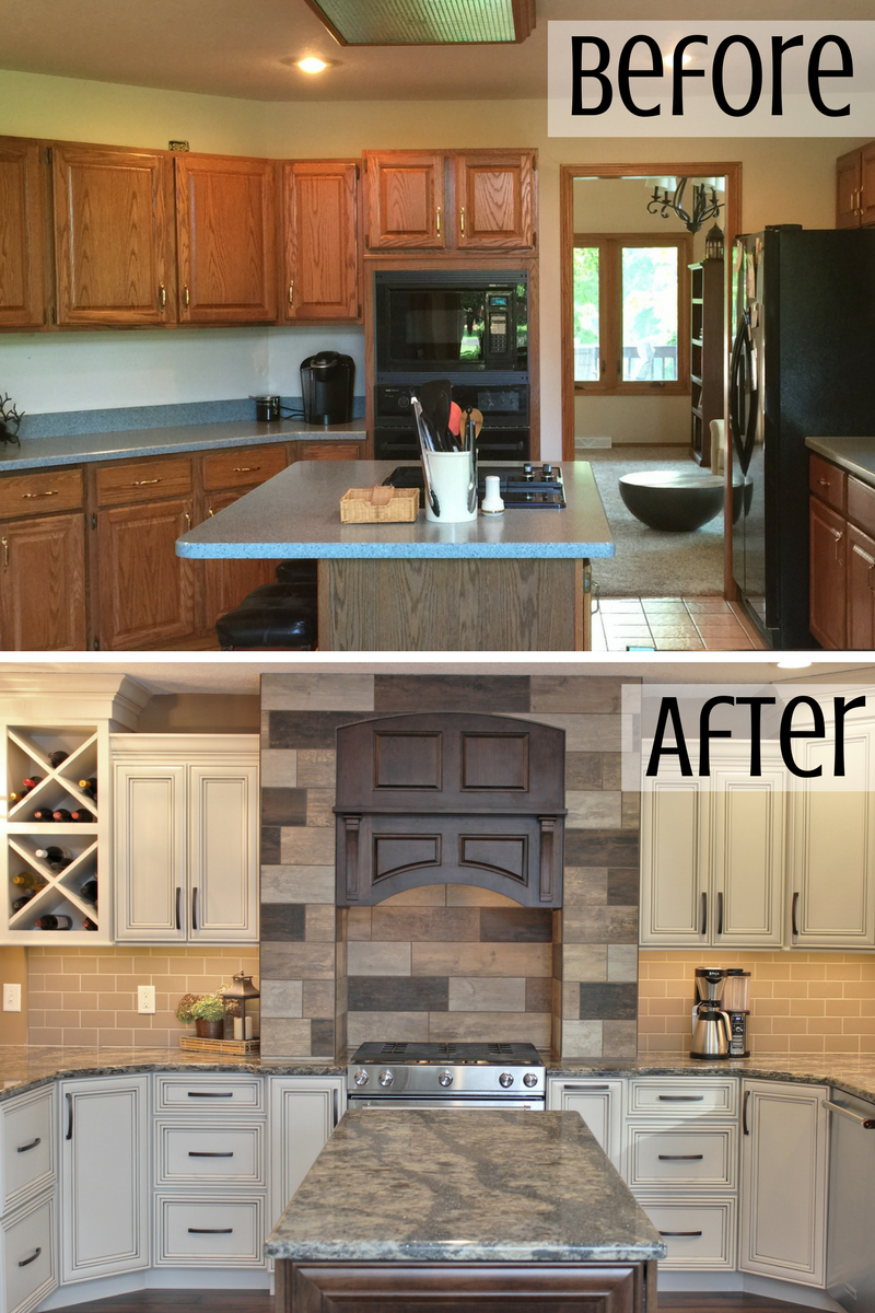 kitchen before and after in Colona, IL. Remodeled from start to finish by Village Home Stores. | VillageHomeStores.com
