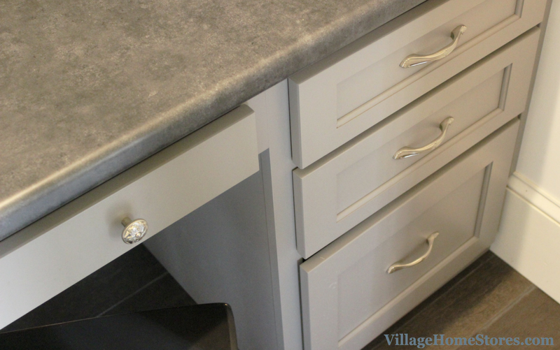 Gray painted cabinetry in a Home Office designed by Village Home Stores. | VillageHomeStores.com