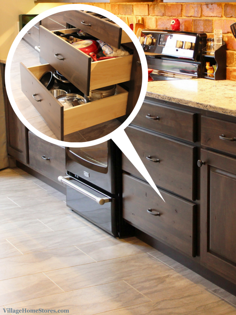 large drawers for pots and pans storage. | VillageHomeStores.com