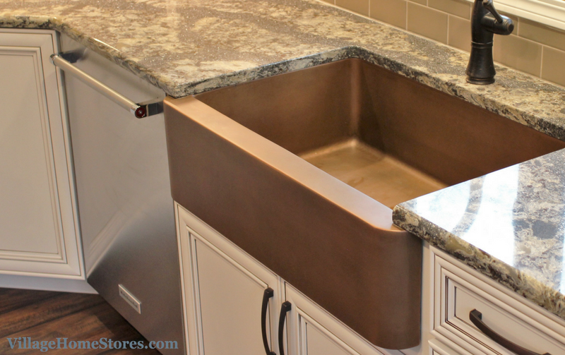Copper undermount farmhouse style sink. | VillageHomeStores.com