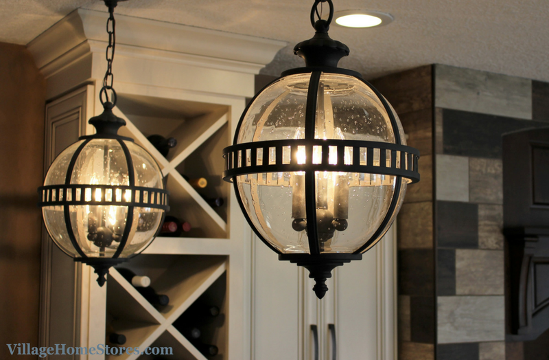 Kichler pendant lighting with seeded glass above a kitchen peninsula. | VillageHomeStores.com