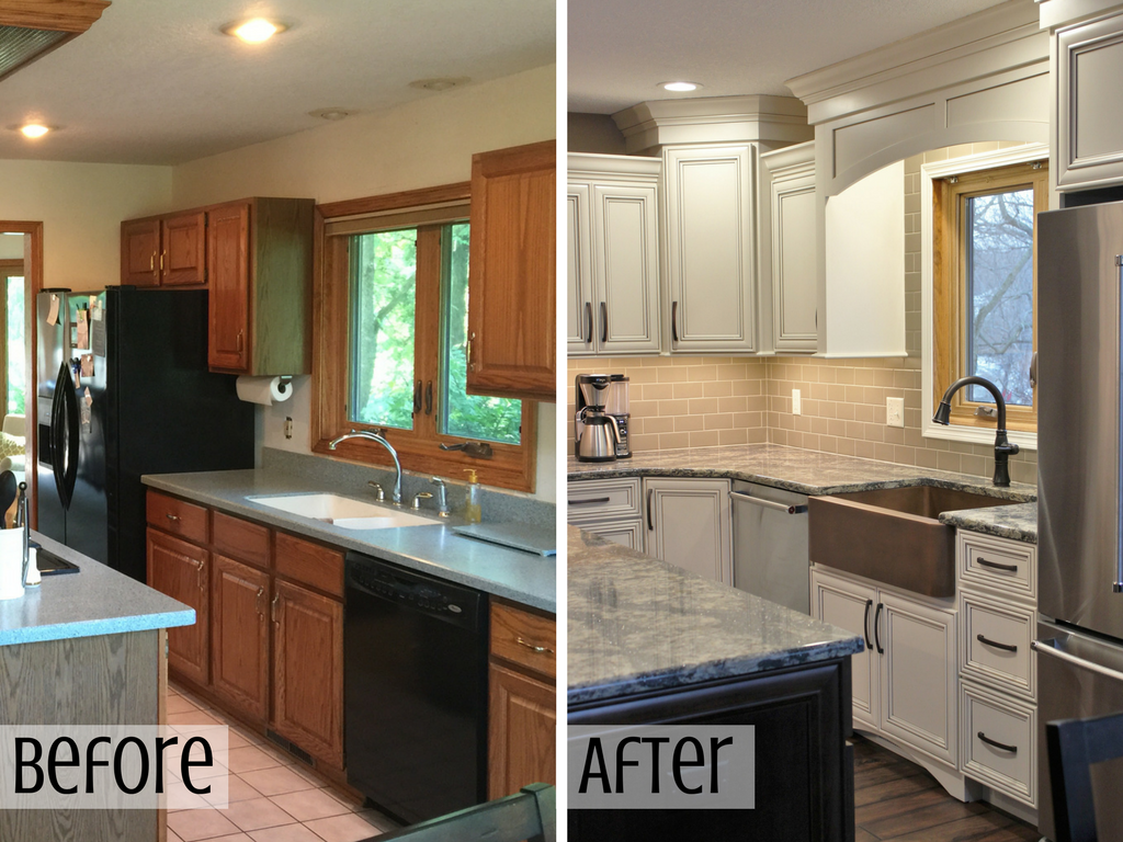 Kitchen before and after with new copper farmhouse style sink. | VillageHomeStores.com