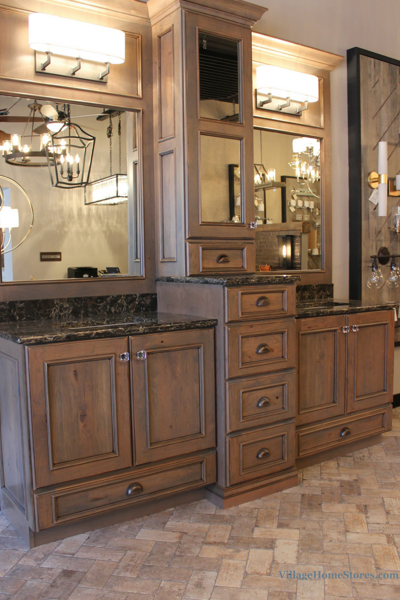 Rustic Cherry Master Bath vanity display in the newly remodeled Village Home Stores showroom. | VillageHomeStores.com