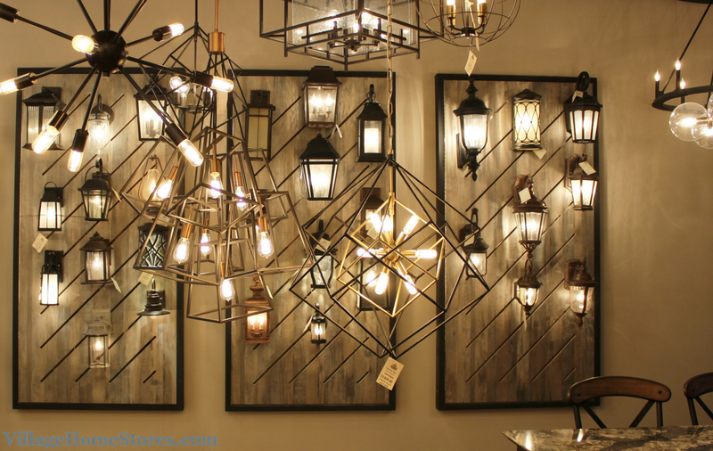 Exterior lighting displays in Village Home Stores showroom. | VillageHomeStores.com