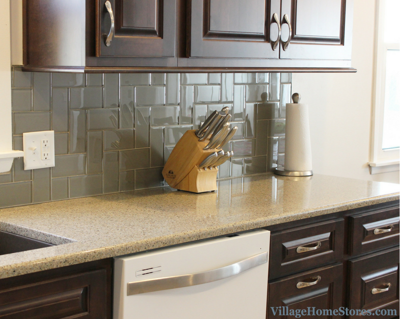 A Moline, IL kitchen remodel including Hanstone Quartz and glass subway tile. | VillageHomeStores.com
