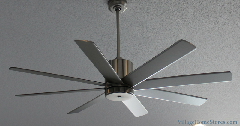 "Modern ceiling fan in a home by Heartland Builders including Quorum Proxima 60"" ceiling fan. 
