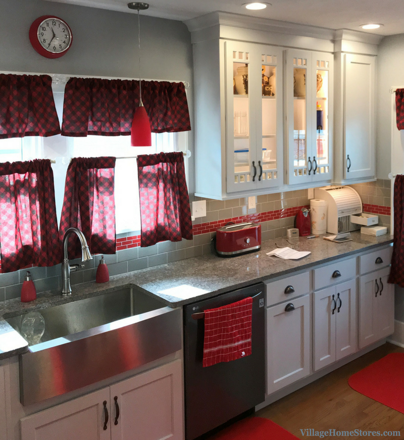 A Moline, IL kitchen remodel with red accents remodeled completely from start to finish by Village Home Stores. | VillageHomeStores.com