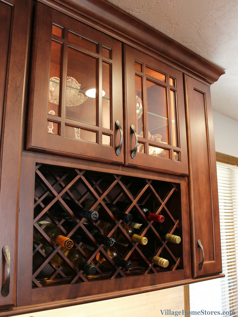 Remodeled East Moline, IL kitchen including a wine display cabinet. | VillageHomeStores.com