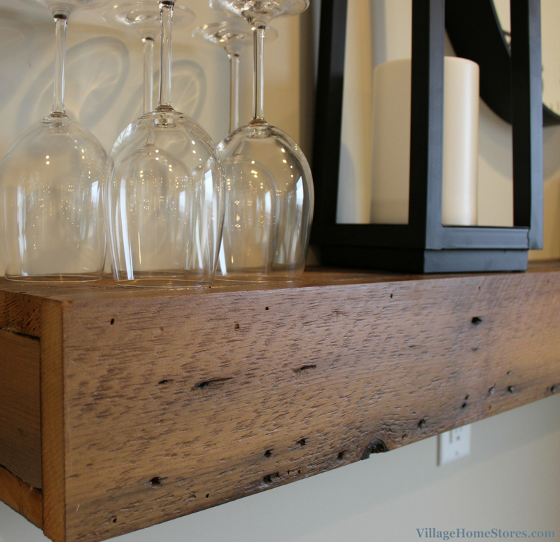 Reclaimed barnwood floating shelves by collaboration from Reclaimed Salvage and Durian Builders. | VillageHomeStores.com