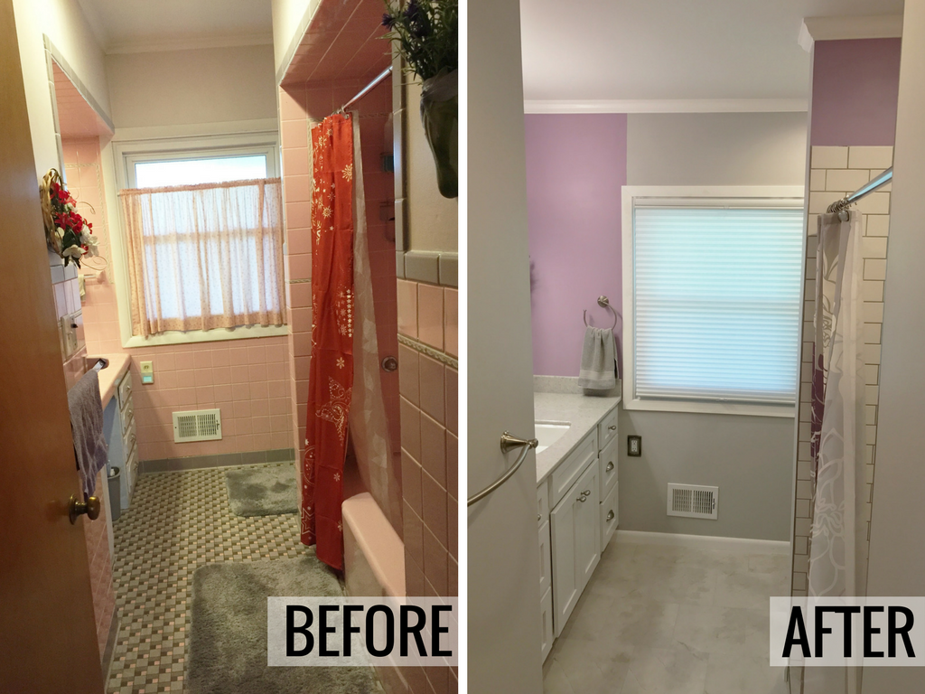 Davenport ia pink bathroom remodeled and updated for Bathroom remodel quad cities