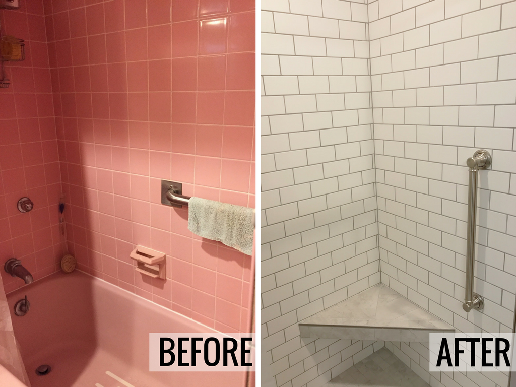 Davenport ia pink bathroom remodeled and updated for Bathroom design quad cities