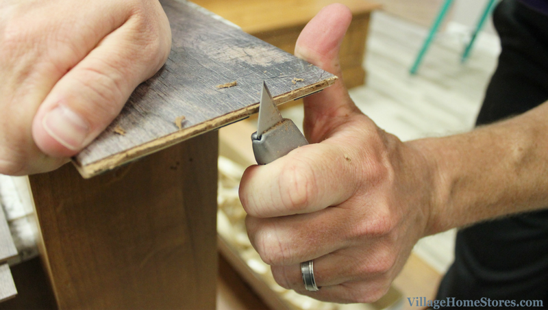 Wallplank installation- clean up the edges of your cut boards to remove any splintering. Use sanding block if needed. | VillageHomeStores.com